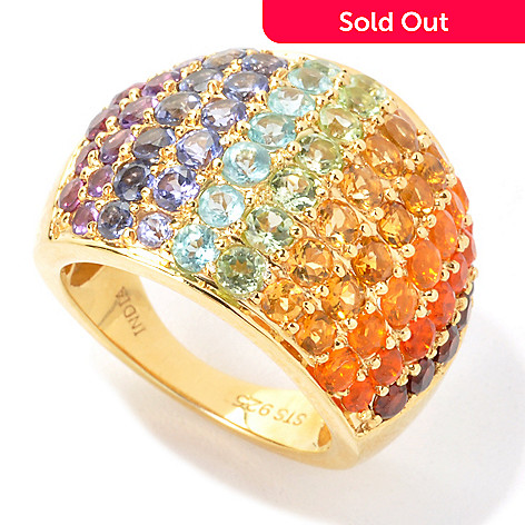 135-517 - NYC II™ 3.36ctw Multi Gemstone Exotic Rainbow Dome Ring