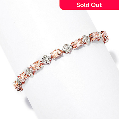 135-520 - NYC II® Oval Morganite & White Zircon Tennis Bracelet