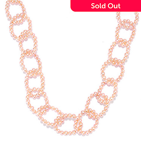 135-523 - 40'' 4-5mm Potato Shaped Freshwater Cultured Pearl Ring Link Endless Necklace