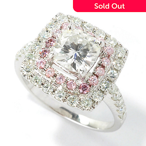 135-529 - Forever Brilliant Moissanite 14K White Gold 2.08 DEW Pink & White Halo Ring