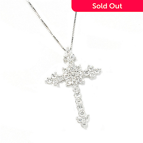 135-536 - Forever Brilliant Moissanite 14K Gold Cross Pendant w/ 18'' Chain
