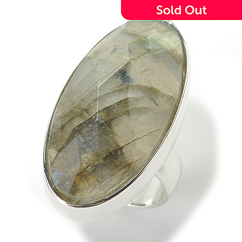 135-569 - Gem Insider® Sterling Silver 31 x 15.5mm Elongated Oval Labradorite Ring