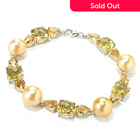135-580 - Sterling Silver 8'' 13-14mm South Sea Cultured Pearl, Lime Quartz & Citrine Bracelet