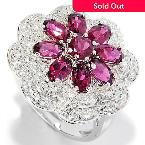 135-640 - Gem Insider® Sterling Silver 3.00ctw Rhodolite Garnet & White Zircon Flower Ring