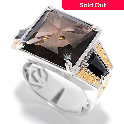 135-641 - Men's en Vogue 12.12ctw Square Frosted Smoky Quartz & Black Spinel Ring