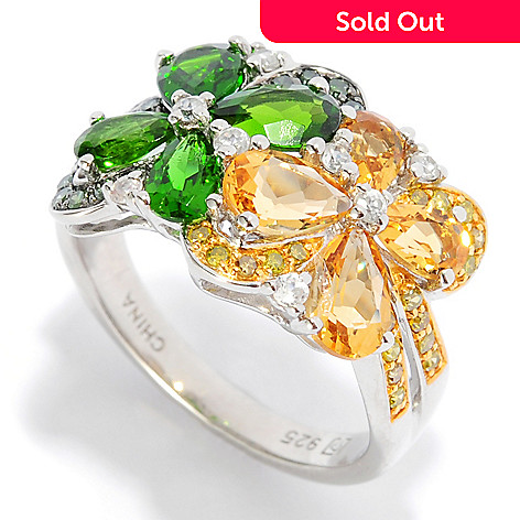 135-647 - NYC II™ 2.18ctw Multi Gemstone & Fancy Diamond Flower Band Ring