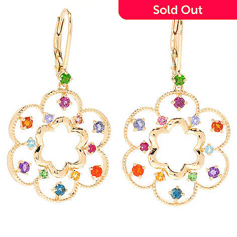 135-649 - NYC II™ 1.5'' 1.13ctw Multi Gemstone Flower Drop Earrings