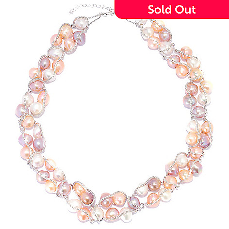135-660 - Sterling Silver 20'' 10-11mm Multi Color Freshwater Cultured Pearl & Topaz Necklace