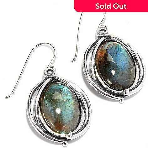 135-667 - Passage to Israel™ Sterling Silver 1.5'' 18 x 13mm Oval Gemstone Drop Earrings