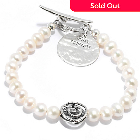 135-671 - Passage to Israel Sterling Silver 7-8mm Freshwater Cultured Pearl Toggle Bracelet