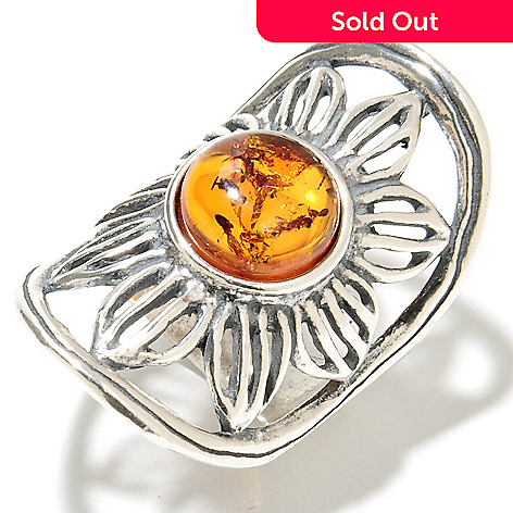 135-687 - Passage to Israel™ Sterling Silver 10mm Amber Elongated Flower Ring
