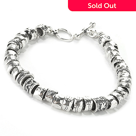 135-697 - Passage to Israel™ Sterling Silver Hammered Bead Toggle Bracelet