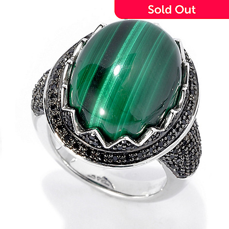135-706 - Gem Insider™ Sterling Silver 17 x 13mm Oval Malachite & Spinel Zigzag Halo Ring
