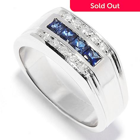 135-707 - Ultimate Silver™ Men's 0.68ctw Sapphire & Diamond Three-Row Flat Top Ring