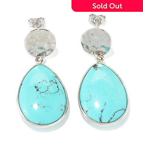 135-714 - Gem Insider™ Sterling Silver 1 3/8'' 20 x 15mm Anhui Turquoise Teardrop Earrings