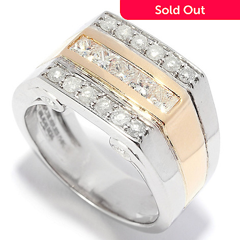 135-726 - Ultimate Silver™ Men's Two-tone 0.93ctw Princess & Round Cut Diamond Three-Row Ring