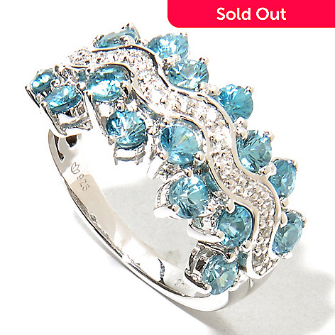 135-733 - NYC II 3.05ctw Blue & White Zircon 16-Stone Staggered Edge Band Ring