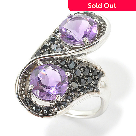135-751 - Gem Treasures® Sterling Silver 4.80ctw Amethyst & Black Spinel Bypass Ring