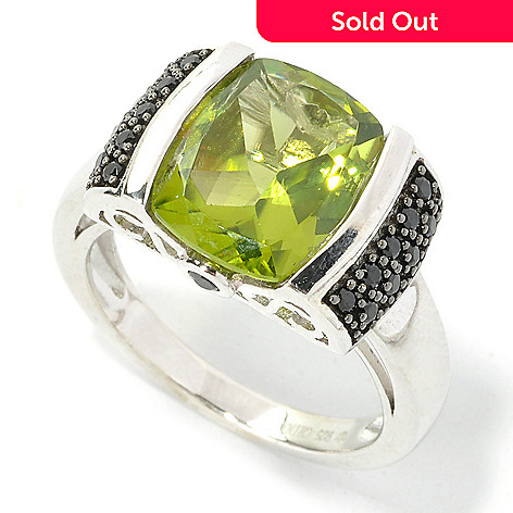 135-754 - Gem Treasures® Sterling Silver 3.87ctw Peridot & Black Spinel Scrollwork Ring