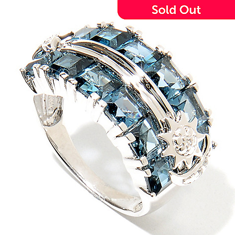 135-759 - NYC II® 4.71ctw London Blue Topaz & White Zircon Celestial Band Ring