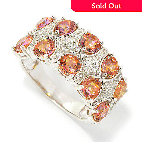 135-768 - Gem Treasures® Sterling Silver 3.24ctw Multi Topaz Double-Row Wide Band Ring