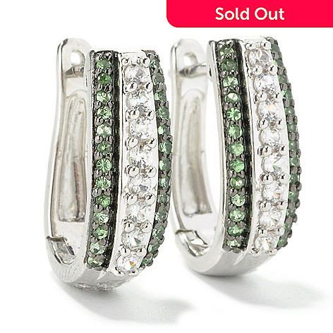 135-770 - Gem Treasures® Sterling Silver Tsavorite & White Zircon Huggie Hoop Earrings