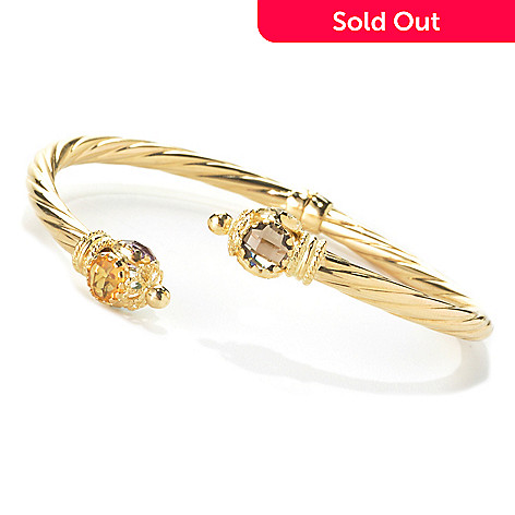 135-791 - Viale18K® Italian Gold 6.75'' Multi Gem Endcap Twisted Hinged Bangle Bracelet