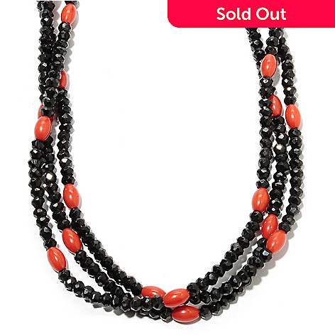 135-800 - Gem Treasures® Sterling Silver 18'' Spinel & Red Coral Three-Strand Bead Necklace