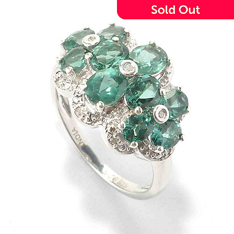 135-805 - NYC II™ 1.93ctw Teal Apatite & Diamond Multi Flower Ring