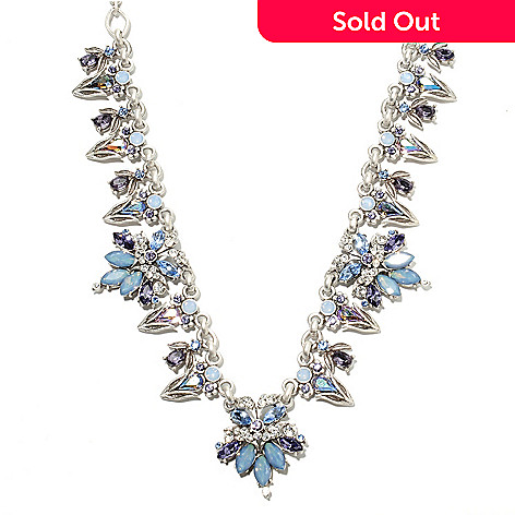 135-809 - Sweet Romance 18'' Multi Crystal Vintage-Style Collar Necklace