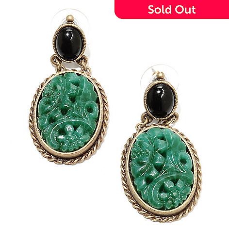 135-816 - Sweet Romance™ 1.75'' Carved Glass Vintage-Style Drop Earrings