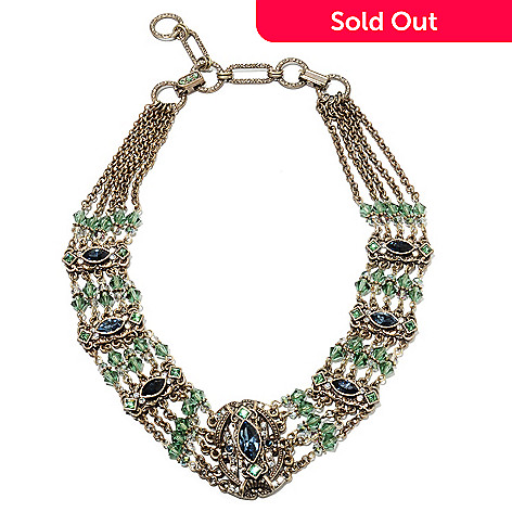 135-818 - Sweet Romance 15.5'' Crystal & Glass Beaded Multi Strand Collar Necklace