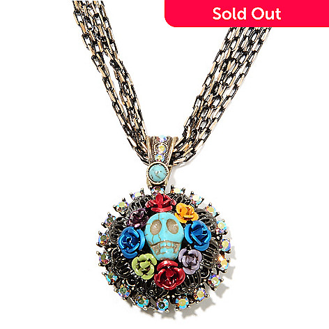 135-820 - Sweet Romance 16.5'' Magnesite, Crystal & Glass Skull Wreath RetroMex Necklace