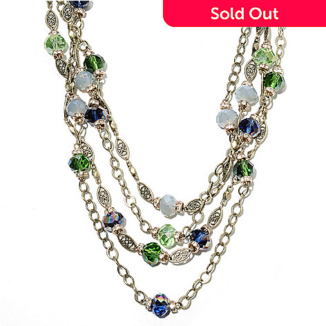 135-821 - Sweet Romance 19.25'' Multi Color Crystal & Glass Four-Strand Station Necklace