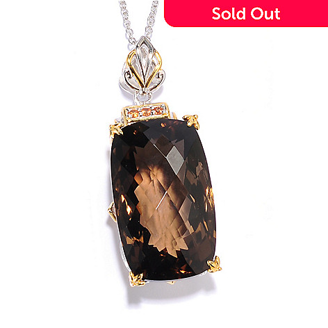 135-825 - Gems en Vogue 50.15ctw Smoky Quartz & Orange Sapphire Elongated Pendant w/ 18'' Chain