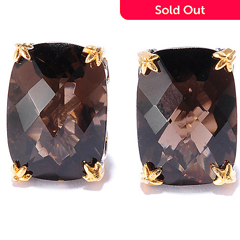 135-826 - Gems en Vogue 11.48ctw Cushion Cut Smoky Quartz Stud Earrings