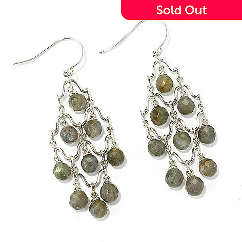 135-840 - Gem Insider™ Sterling Silver 2.25'' Labradorite Chandelier Earrings