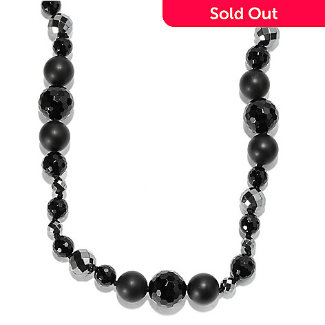 135-882 - Dallas Prince Sterling Silver 22'' Hematite & Black Agate Beaded Toggle Necklace
