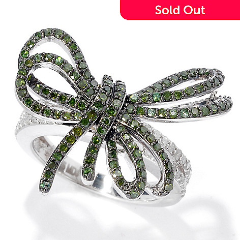 135-885 - Diamond Treasures® Sterling Silver 1.02ctw White & Fancy Color Diamond Bow Ring