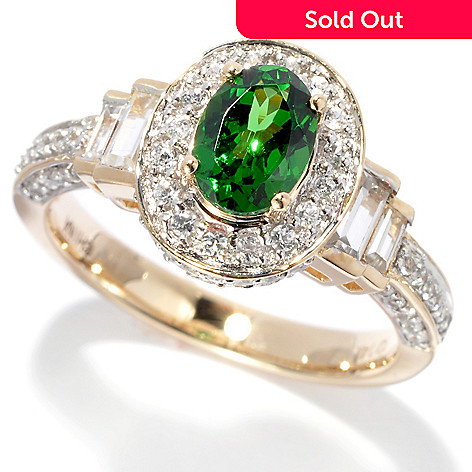 135-934 - Gem Treasures® 14K Gold 1.93ctw Tsavorite & White Zircon Halo Ring