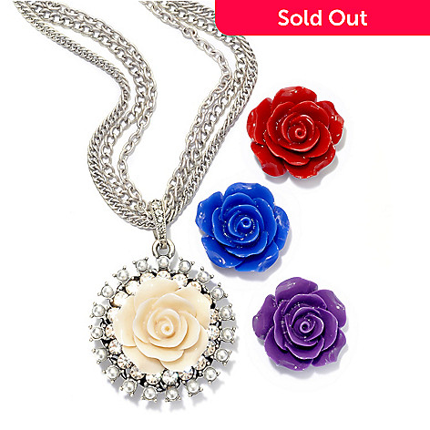 135-935 - Sweet Romance 24.5'' Triple Strand Necklace w/ Interchangeable Carved Roses