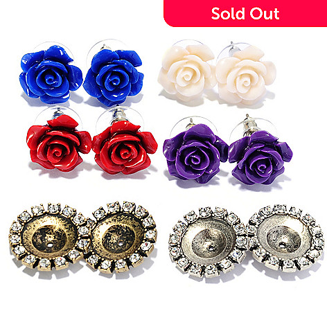 135-936 - Sweet Romance™ Set of Four Carved Rose Stud Earrings w/ Interchangeable Earring Jackets