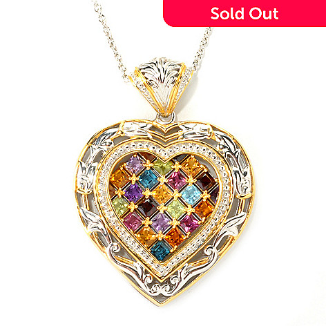 135-963 - Gems en Vogue 3.15ctw Princess Cut Multi Gemstone Heart Pendant w/ 18'' Chain
