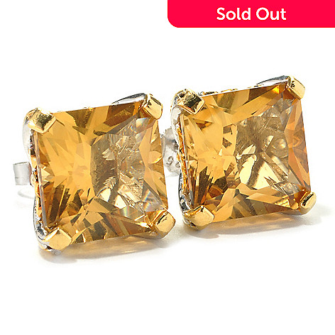 135-969 - Gems en Vogue 15.20ctw Princess Cut Zambian Citrine Stud Earrings