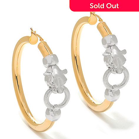 135-987 - Dettaglio 18K Gold Embraced™ 2'' Polished Panther Head Hoop Earrings