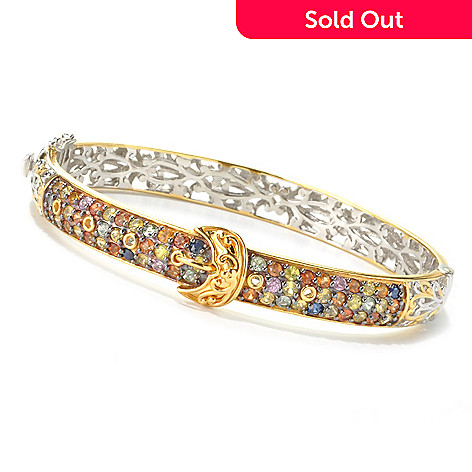 136-018 - Gems en Vogue 4.80ctw Multi Sapphire Buckle Hinged Bangle Bracelet