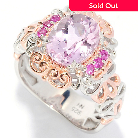 136-021 - Gems en Vogue 2.10ctw Oval Kunzite & Pink Sapphire Ring