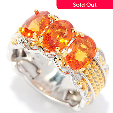 136-045 - Gems en Vogue 2.88ctw Oval Spessartite Three-Stone Band Ring