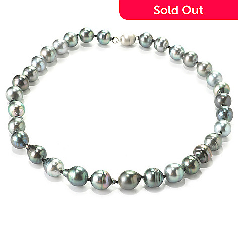 136-081 - Sterling Silver 18'' 11-12mm Black Tahitian Cultured Pearl Necklace w/ Magnetic Clasp