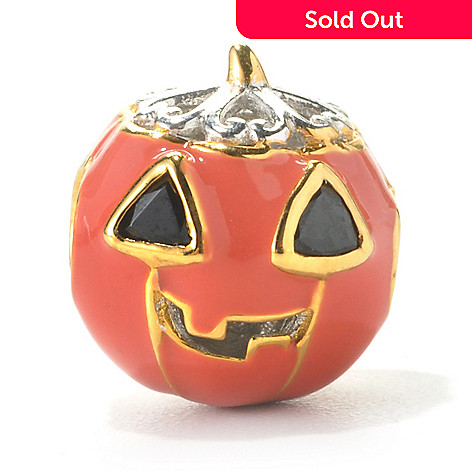136-105 - Gems en Vogue II Trillion Black Spinel & Orange Enamel Pumpkin Charm